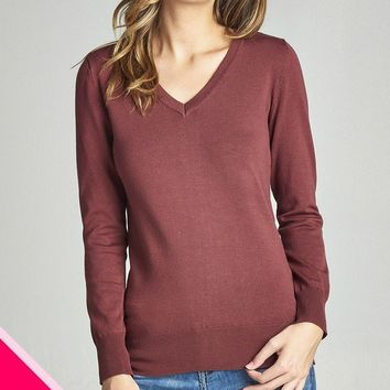 Classic V-Neck Sweater - Red Bean