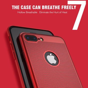 Case For Hollow Breathable Breathable Cooling Mesh Hard Phone Cover For apple Hard Cover For iPhone 7 7 Plus