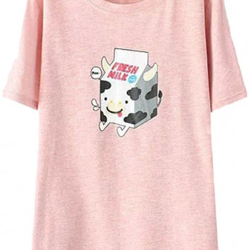 Cow Print Short Sleeve Graphic Tee