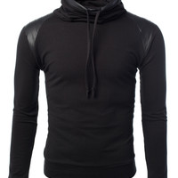 LE3NO Mens Pullover Sweater with Faux Leather Detail