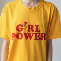 """Girl power"" Fashion hot short sleeve top T-shirt Yellow"