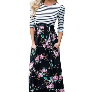 Chicloth Striped Black Floral Skirt Maxi Dress with Tie Waist