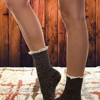 Multi-Color Lace Top Bootie Socks - Black