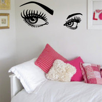 Girls Eyes and Eyebrows Version 2 Beautiful Design Decal Sticker Wall Vinyl Decor Art