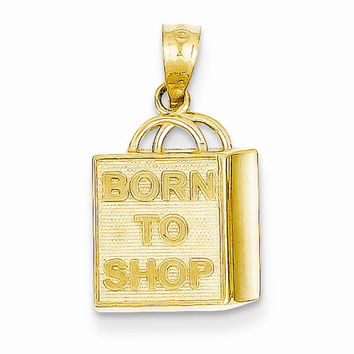 14 Yellow Gold Shopping Bag Born to Shop Charm
