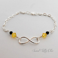 Hufflepuff Forever Bracelet or Anklet, Yellow Gold Infinity Bracelet, Harry Potter Inspired Jewelry