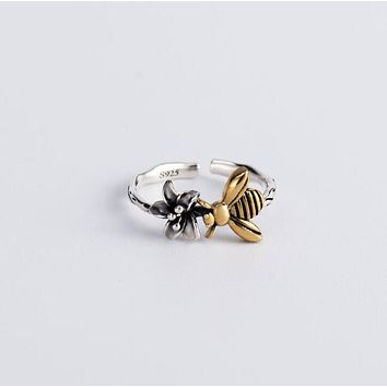 925 Sterling Silver Ring Bee Opening Adjustable Simple Dainty Jewelry