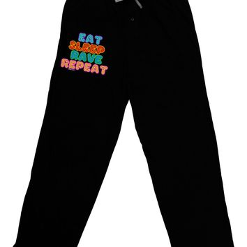 Eat Sleep Rave Repeat Hypnotic Adult Lounge Pants by TooLoud