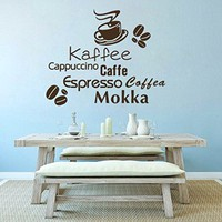 Wall Decals Coffea Caffee Beans Cup Mokka Espresso Caffe Cappuccino Decal Vinyl Sticker Home Decor Interior Design Kitchen Cafe Restaurant Ms709