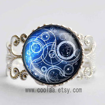 Doctor Who glass stone Adjustable Ring, Dr Who masters fob vintage glass stone ring, Doctor Who Timelord Seal glass stone ring