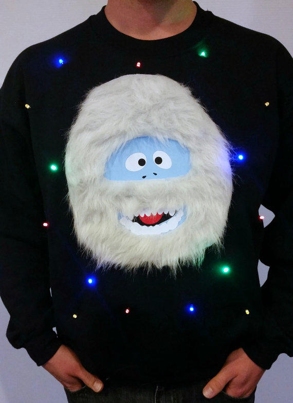 Light up ugly christmas sweater bumble from for Abominable snowman christmas light decoration
