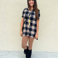 Plaid High Low Top