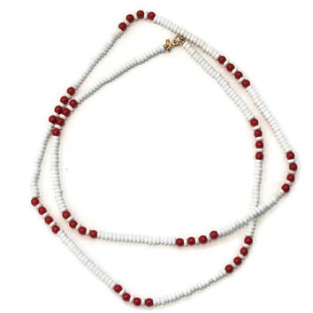 Monet White And Red Bead Necklace, Nautical Jewelry