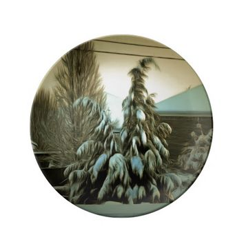 Decorative Porcelain Plate Heavy Snow on Pine