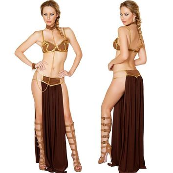 Star Wars Force Episode 1 2 3 4 5 2017 New Sexy Carnival  Cosplay Princess Leia Slave Costume Dress Gold Bra and Neckchain For Carnival Halloween AT_72_6