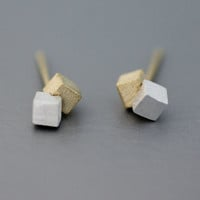 Cubes / Double Squres with mixed Silver&Gold  silver studs earrings