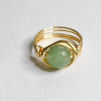 Green Aventurine Faceted Gemstone Gold Wire Wrapped Ring Sizes 1-14