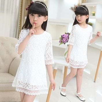 children dresses 2018 new summer lace dress white large size girls dress 3 4 6 8 10 12 14 16 18 years old baby girl clothes