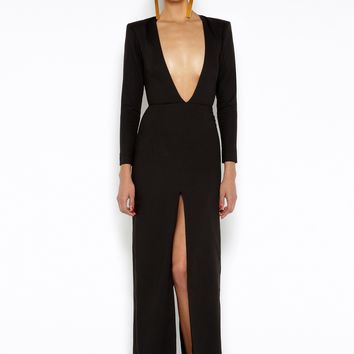 The Patsy Black Long Sleeved Maxi Dress AQ/AQ