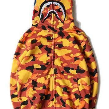 ca qiyif Hot men's BAPE Orange Shark Head Full Zip Jacket Hoodie Sweatshirt Plus thick