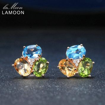 LAMOON Natural Gemstone 3ct Oval Yellow Citrine Green Peridot Blue Topaz 925 Sterling Silver Fine Jewelry Female Stud Earrings
