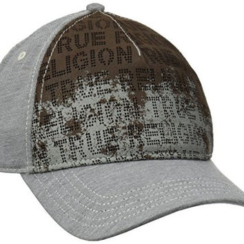True Religion Men's Perforated Front Baseball Cap, Steel, One Size