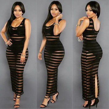 Black Sheer Stripe Back Slit Maxi Tank Dress