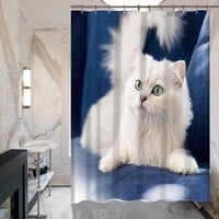 Bathroom Hotel Pet White Cat Print Shower Curtain Customized Does Not Fade Polyester Waterproof Curtain MYSC67