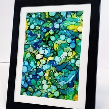 Alcohol Ink on Yupo Paper, Abstract Wall Art, Green & Blue, 5x7 Wall Art, Art on Yupo Paper, 717Art, Ink Painting, Yupo Paper Art