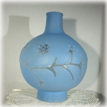 Cornflower Blue Glass Lamp Chimney Flower Motif Replacement Part