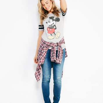 Mickey Mouse™ Burnout Football Tee | Wet Seal