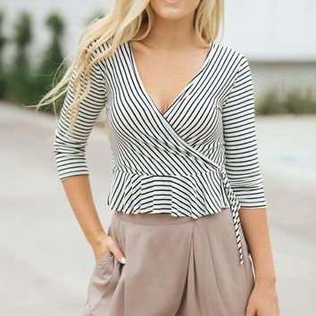 Lizzy Striped Peplum Top