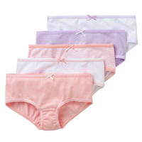 5-Pack Tagless 100% Combed Cotton Hipster Panties Assorted