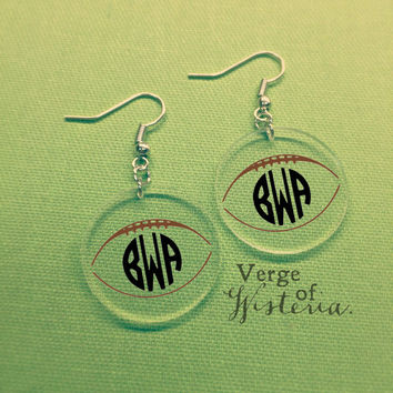 Personalized Football Monogram Earrings- Dangle Earrings Football Monogrammed Custom Jewelry Customized Earrings Football Season Southern