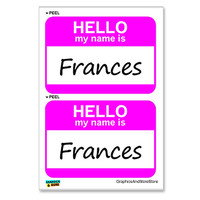 Frances Hello My Name Is - Sheet of 2 Stickers