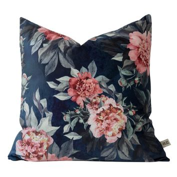 "Flower Orchard 18"" x 18"" Velvet Pillow Cover"