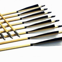 12pcs 32″ wooden practice arrows for traditional bows