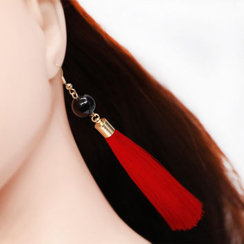 Vintage Bohemia Long Tassel Earrings Black Bead Safety Anti-allergy Pins Earrings For Women