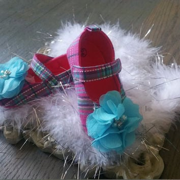 Pink Plaid Baby Shoes, Flat Baby Shoes,baby girl shoes, baby girl crib shoes, blue baby shoes, flower baby shoes, Wedding, Ready to ship,