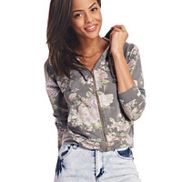Dreamy Floral Zip-Up Hoodie | Wet Seal
