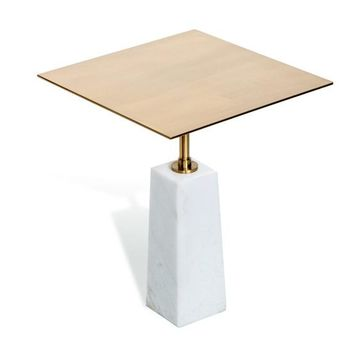 Beck Square Side Table in White & Antique Brass