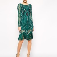 Frock and Frill All Over Embellished Dress with Tassel Hem