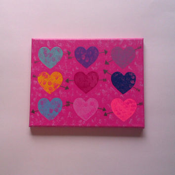 Hearts and arrows acrylic canvas painting for baby girls nursery, tween, or teen room