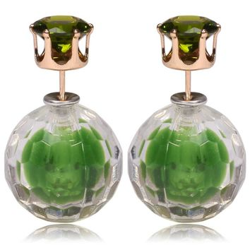 Gum Tee Mise en Style Tribal Double Bead Earrings - Matching Hidden Gem Green