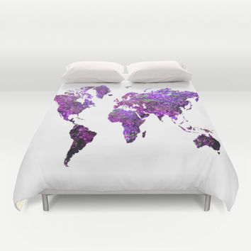 Purple World Map Duvet Cover by Haroulita