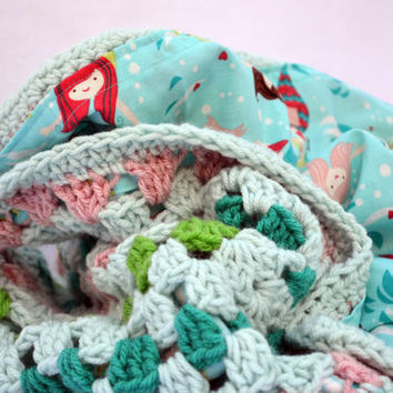 Mermaid crochet baby blanket, granny square reversible crochet baby blanket