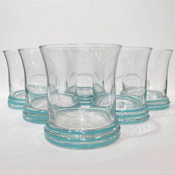Homer Laughlin Turquoise Fiesta Tumblers Set (6), Double Old Fashioned Glasses, Vintage Fiestaware Rocks Glasses, Striped Tumblers Glasses