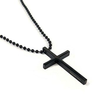 SHIP BY USPS: Stainless Steel Black Cross Pendant Chain Necklace for Men Women , 24 inches