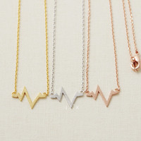 Gold/Silver/ Pink-gold Heart Beat necklace