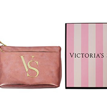 Victoria's Secret Rose Gold Cosmetic Bag & Lipgloss w/ Gift Box